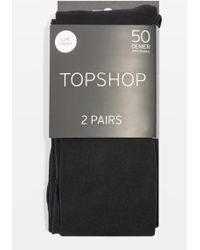 122b4d49ce9 Lyst - Topshop White Opaque Floral Tights in White