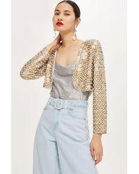 TOPSHOP - Embellished Cropped Jacket - Lyst