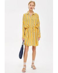 TOPSHOP - Stripe Drawstring Shirt Dress - Lyst