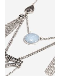 TOPSHOP - Opal And Tassel Ladder Necklace - Lyst