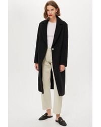 TOPSHOP - Brushed Coat With Wool - Lyst