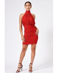 Club L - red Backless Halter Neck Dress By - Lyst
