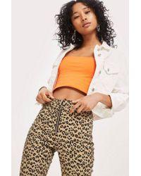 TOPSHOP - Leopard Print Joni Jeans - Lyst