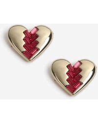 TOPSHOP - Heart Rhinestone Stud Earrings - Lyst
