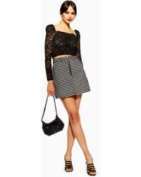15db19a5d7 Lyst - TOPSHOP Embellished Floral Faux Leather Skirt in Black