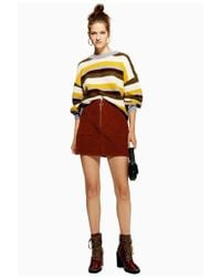 fc915297ae TOPSHOP Leopard Zip-up Skirt in Yellow - Lyst