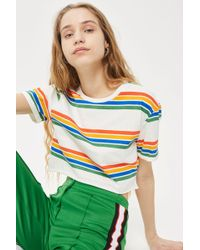 TOPSHOP - Printed Rainbow Crop T-shirt - Lyst
