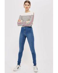 TOPSHOP - Tall Mid Blue Joni Jeans - Lyst