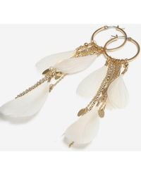 TOPSHOP - Feather Hoop Earrings - Lyst