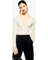 0478907e34 Lyst - TOPSHOP Embroidered Long Sleeve Body in Black