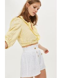 TOPSHOP - Heart Broderie Shorts - Lyst