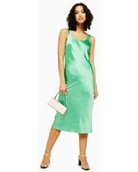 TOPSHOP - Green Built Up Slip Dress - Lyst