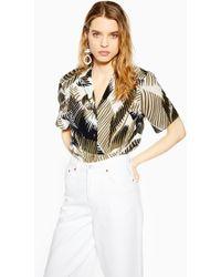 bcd02f2176ca9c TOPSHOP - Graphic Palm Print Bowler Shirt - Lyst
