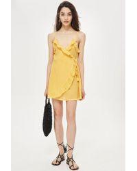 TOPSHOP - Wrap Frill Mini Dress - Lyst