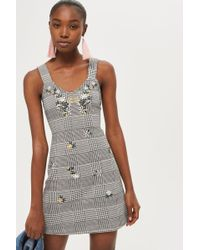 TOPSHOP - Gingham Pinafore Dress - Lyst