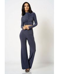 Club L - high Neck Ruched Crop Top By London - Lyst