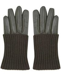 TOPSHOP - Knit Leather Gloves - Lyst
