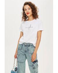 7ad025df94d TOPSHOP - Petite Paris Embroidered Skyline T-shirt - Lyst
