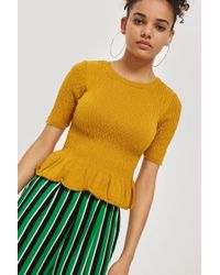 TOPSHOP - Shirred Knitted T-shirt - Lyst