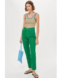 TOPSHOP - Green Mom Jeans - Lyst