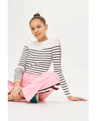 TOPSHOP - Side Striped Sleeve Detail Knitted Top - Lyst