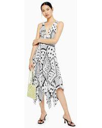 TOPSHOP - Spot Print Pleated Pinafore Dress - Lyst