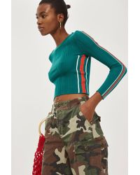 TOPSHOP - Sporty Side Striped Knitted Top - Lyst