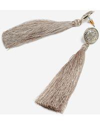 TOPSHOP - Coin Stud Tassel Drop Earrings - Lyst