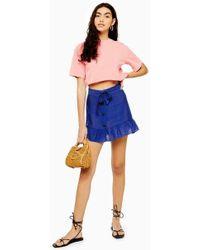 873209dce6 TOPSHOP Petite Meadow Ruffle Mini Skirt in Green - Lyst