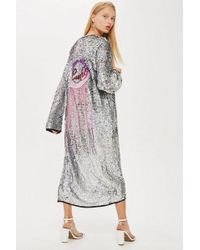 TOPSHOP - Sequin Lucky Fringe Cape - Lyst
