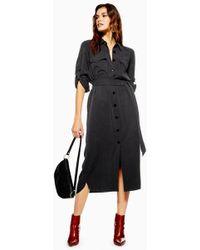 TOPSHOP - Utility Midi Shirt Dress - Lyst