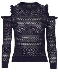 TOPSHOP - Petite Cold Shoulder Pointelle Knit Jumper - Lyst