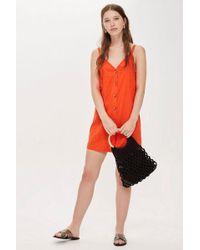 TOPSHOP - Tall Button Mini Slip Dress - Lyst