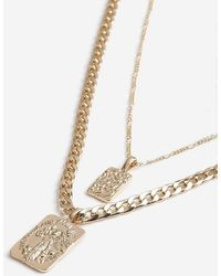 TOPSHOP - Two Row Chain Tag Necklace - Lyst