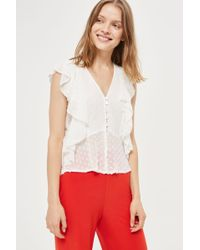 TFNC London | Ryna Polka Dot Ruffle Top By | Lyst