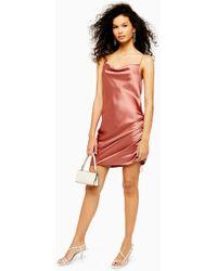 31de52c810f78 TOPSHOP Ruched Mini Slip Dress in Black - Lyst