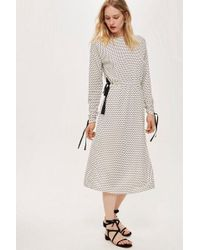 TOPSHOP - ruched Sleeve Polka Dot Dress By Boutique - Lyst