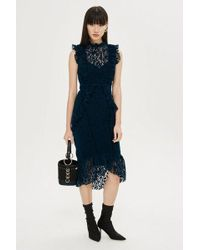 Hope and Ivy - velvet Lace Midi Dress By Hope & Ivy - Lyst