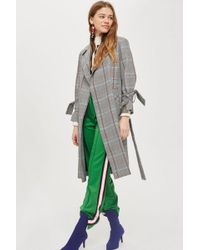 TOPSHOP - Tall Lightweight Checked Coat - Lyst