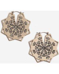 TOPSHOP - Engraved Star Hoop Earrings - Lyst