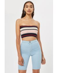 e16e437ac070a1 Lyst - TOPSHOP Sleeveless Rib Knit Crop Top in Yellow
