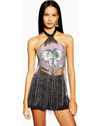 a97ebad9a1 Lyst - TOPSHOP Sequin and Mesh Bustier in Metallic