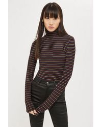 TOPSHOP - Metallic Thread Funnel Neck Top - Lyst