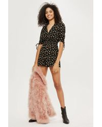 TOPSHOP - Shirred Waist Floral Playsuit - Lyst