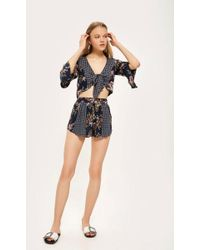 TOPSHOP - Patchwork Ruffle Shorts By Band Of Gypsies - Lyst