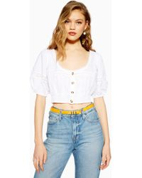 acc711c8ef5 TOPSHOP Lace Bardot Crop Top in Red - Lyst