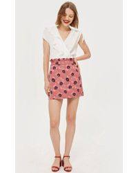 TOPSHOP - Tall Poppy Print Jacquard Mini Skirt - Lyst
