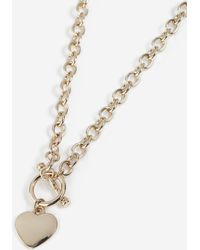 TOPSHOP - T-bar And Heart Chain Necklace - Lyst