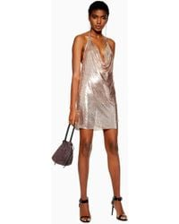 TOPSHOP - Rose Gold Chainmail Shift Dress - Lyst