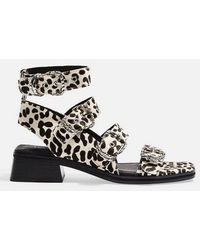 d20894546a TOPSHOP Doodle Faux Fur Mid Heel Sandals in Red - Lyst